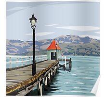 Akaroa Wharf, New Zealand by Ira Mitchell-Kirk Poster