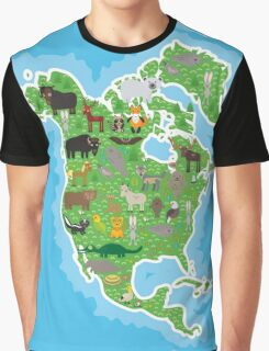 Northern America Animal Map Green Graphic T-Shirt