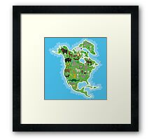 Northern America Animal Map Green Framed Print