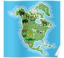 Northern America Animal Map Green Poster