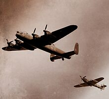 Lancaster Bomber and Spitfire by mudandcustard