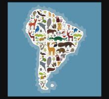 South America Animal Map Kids Tee