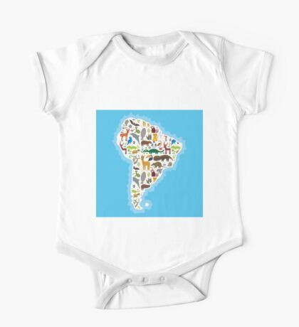 South America Animal Map One Piece - Short Sleeve