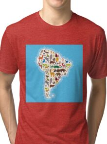 South America Animal Map Tri-blend T-Shirt