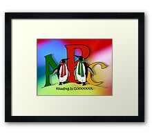 Penguins and Alphabet Letters: Reading is Cool, Colorful Art Framed Print