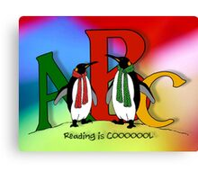 Penguins and Alphabet Letters: Reading is Cool, Colorful Art Canvas Print