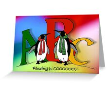 Penguins and Alphabet Letters: Reading is Cool, Colorful Art Greeting Card