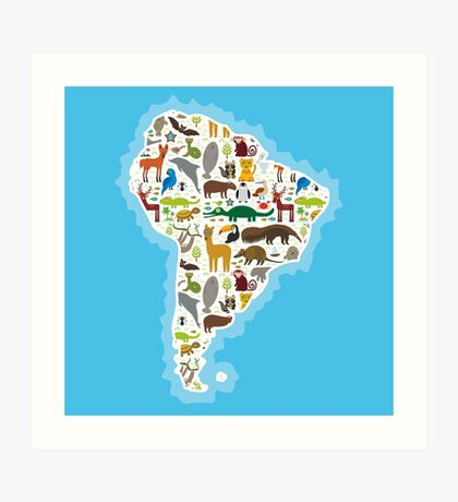 South America Animal Map Art Print