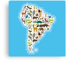 South America Animal Map Canvas Print