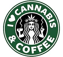 I Love Cannabis & Coffee Photographic Print