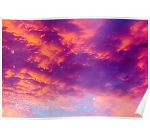 Dramatic red cloudscape at sunset.  Poster