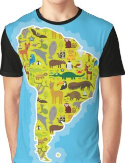 South America Animal Map Green Graphic T-Shirt