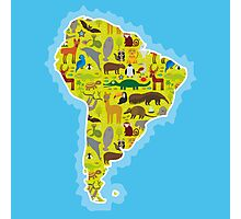 South America Animal Map Green Photographic Print