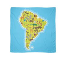 South America Animal Map Green Scarf
