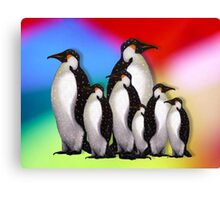 Penguin Family in Snow on Multi-Colored Background Canvas Print