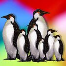 Penguin Family in Snow on Multi-Colored Background by Joyce Geleynse