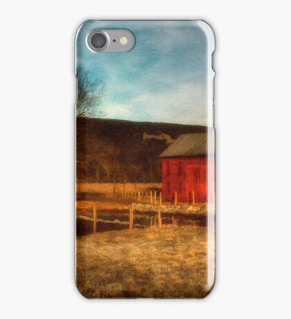 Red Barn At Twilight iPhone Case/Skin