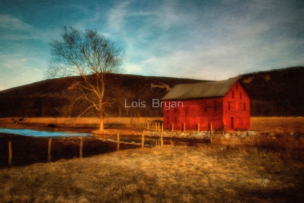 Red Barn At Twilight by Lois  Bryan