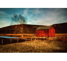Red Barn At Twilight Photographic Print