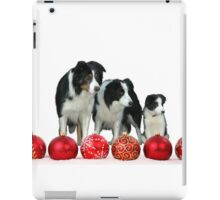 Border Collie Dogs with Red Christmas Ornaments Classic Round  iPad Case/Skin