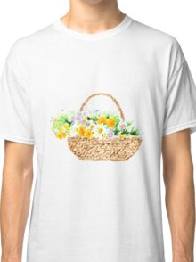 flower basket watercolor Classic T-Shirt