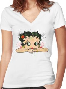 Betty Boop Watercolor Art Women's Fitted V-Neck T-Shirt