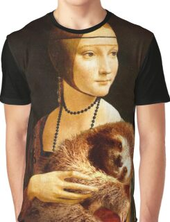 Lady with a Sloth Graphic T-Shirt