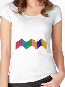 Geometric Composition with Colorful Popsicle Sticks  Women's Fitted Scoop T-Shirt