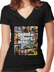 Hot Video Game of Grand Theft Auto V Women's Fitted V-Neck T-Shirt