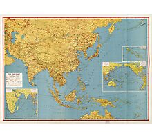 The Far East and Adjoining Areas (Map 1943) Photographic Print