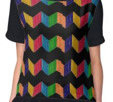 Geometric Composition with Colorful Popsicle Sticks  Chiffon Top