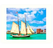 Sailing In A Classic Schooner In Boston Harbor Art Print