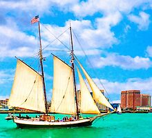Sailing In A Classic Schooner In Boston Harbor by Mark Tisdale