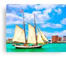 Sailing In A Classic Schooner In Boston Harbor Canvas Print