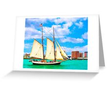 Sailing In A Classic Schooner In Boston Harbor Greeting Card