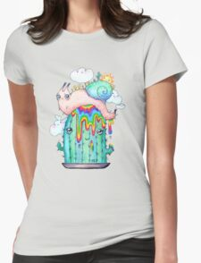 Rainbow Snail on a cactus Womens Fitted T-Shirt