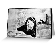 Witch Pupil Tires of Lessons- Ink Drawing Greeting Card