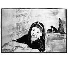 Witch Pupil Tires of Lessons- Ink Drawing Photographic Print