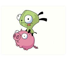 Gir Riding Pig  Art Print