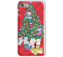 Watercolour Christmas Tree with Watercolour Kittens and Puppies on red tartan / vintage style  iPhone Case/Skin