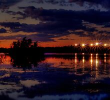 Lights Over Willow Lake At Sunset by Diana Graves Photography