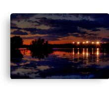 Lights Over Willow Lake At Sunset Canvas Print