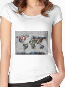 world map flags 4 Women's Fitted Scoop T-Shirt