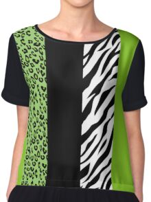 Animal Print, Zebra Stripes, Leopard Spots - Green Chiffon Top