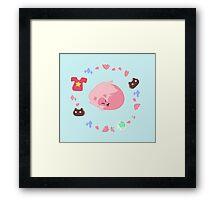 Sleepy Pink Lion Framed Print