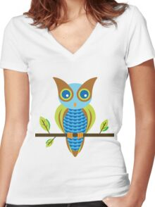 Single Colorful Owl Women's Fitted V-Neck T-Shirt