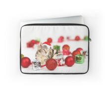 Cat wearing red Santa hat Christmas Ornament  Laptop Sleeve