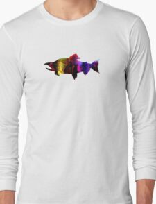 Multi-Colored Salmon Long Sleeve T-Shirt