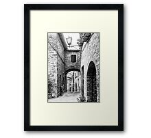 Narrow Street in Cetona Tuscany B&W Framed Print