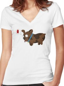 Fire Hydrant Puppy Women's Fitted V-Neck T-Shirt